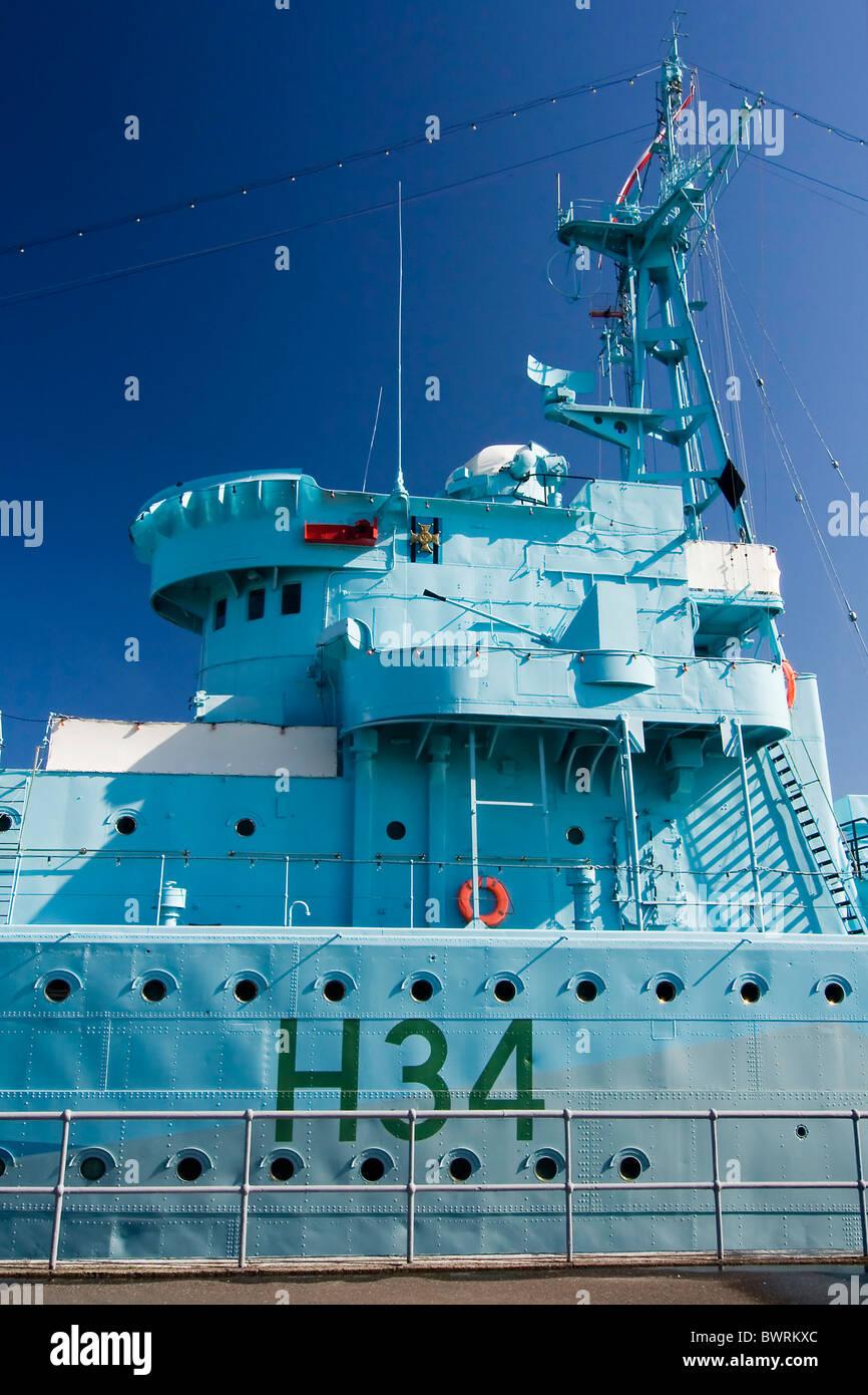 das blaue nautischen Schiff im Hafen - Gdynia - Polen Stockbild