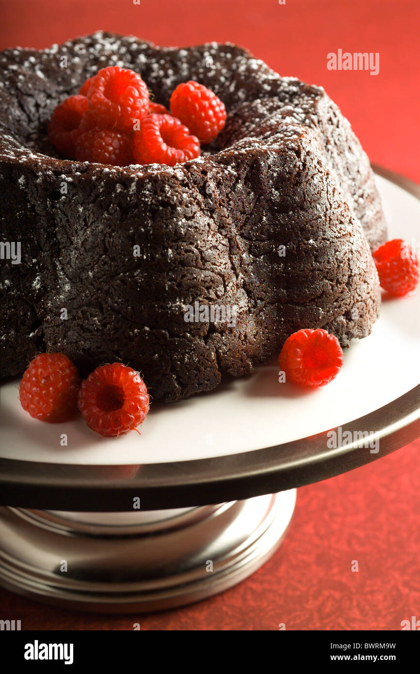 Chocolate Fudge Cake mit Himbeeren. Stockbild