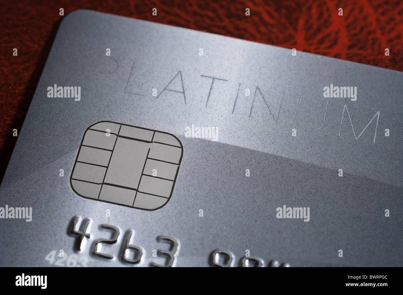 Detail einer Visa Platinum Kreditkarte Stockbild