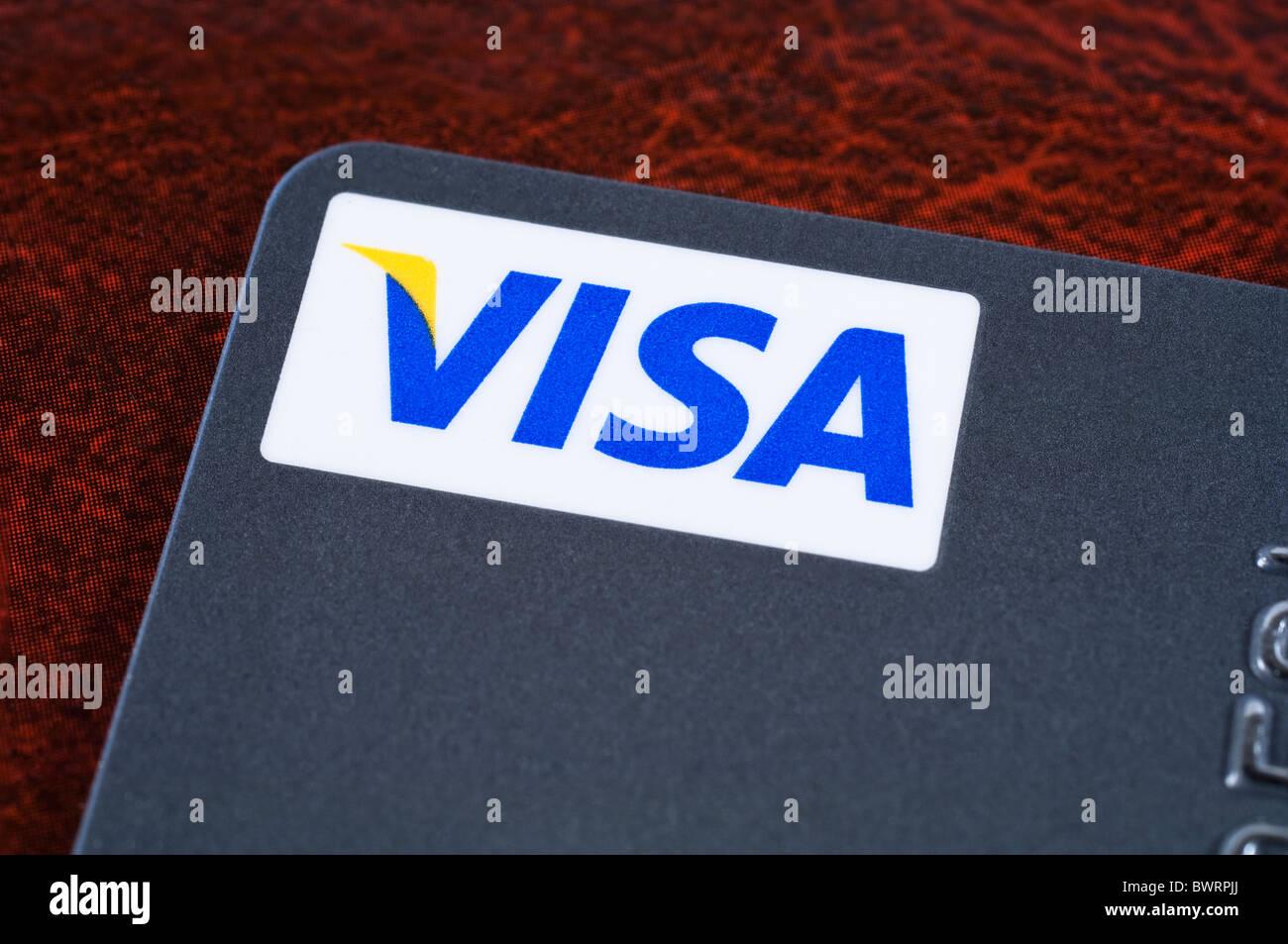 Detail einer Visa-Kreditkarte Stockbild
