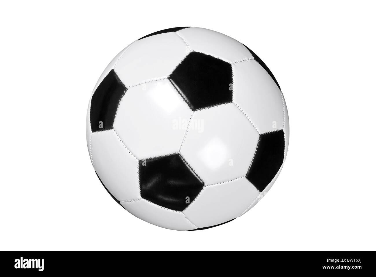Foto von weißen und schwarzen Leder Fußball- oder Fußball Ball isoliert auf weißem Hintergrund Stockbild