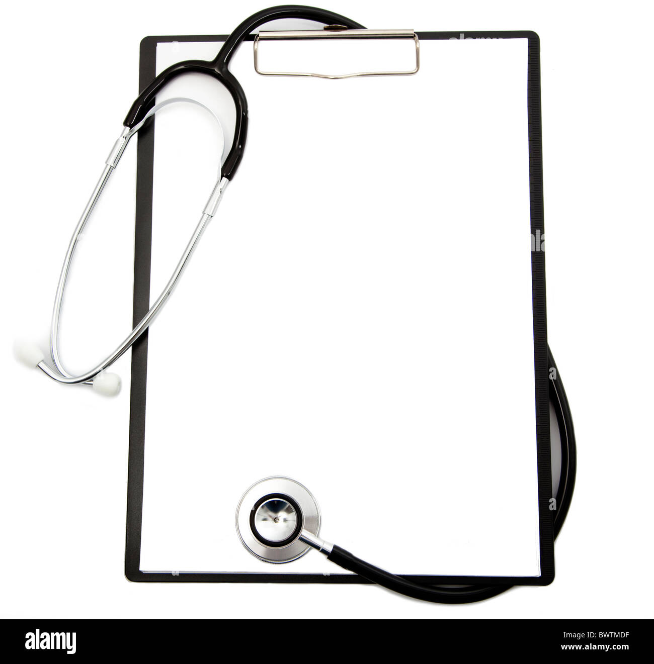 Medizinische Stethoskop und leeren Zwischenablage Stockbild