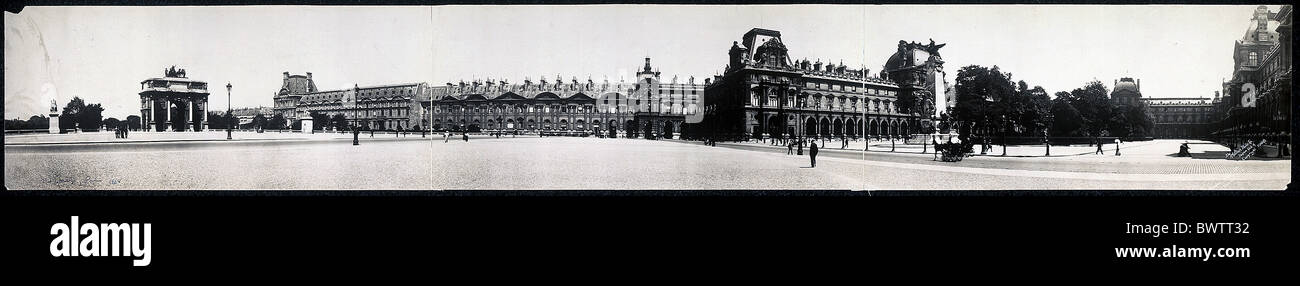 Louvre Paris Frankreich Europa Geschichte geschichtlich historische Panorama 1908 Museumsstadt Stockbild