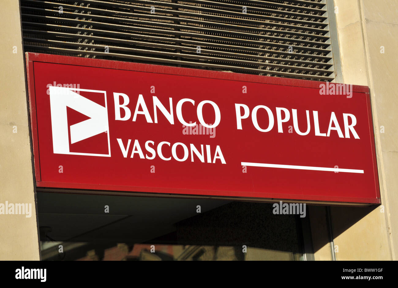 Banco Popular Zeichen, Spanien Stockbild