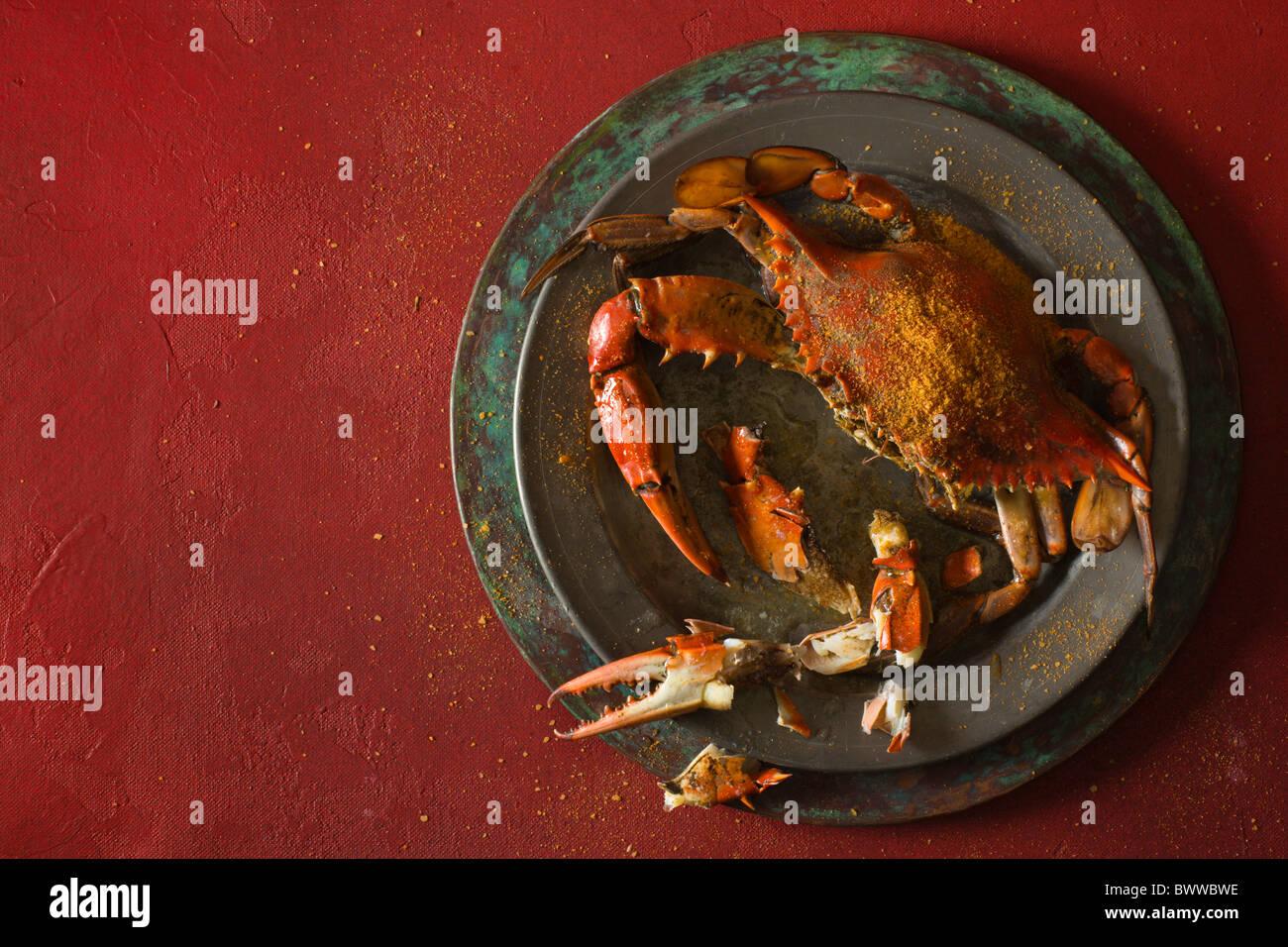 Chesazpeake Bucht blaue Krabben zubereitet im Jimmy Cantlers Riverside Inn. Stockbild