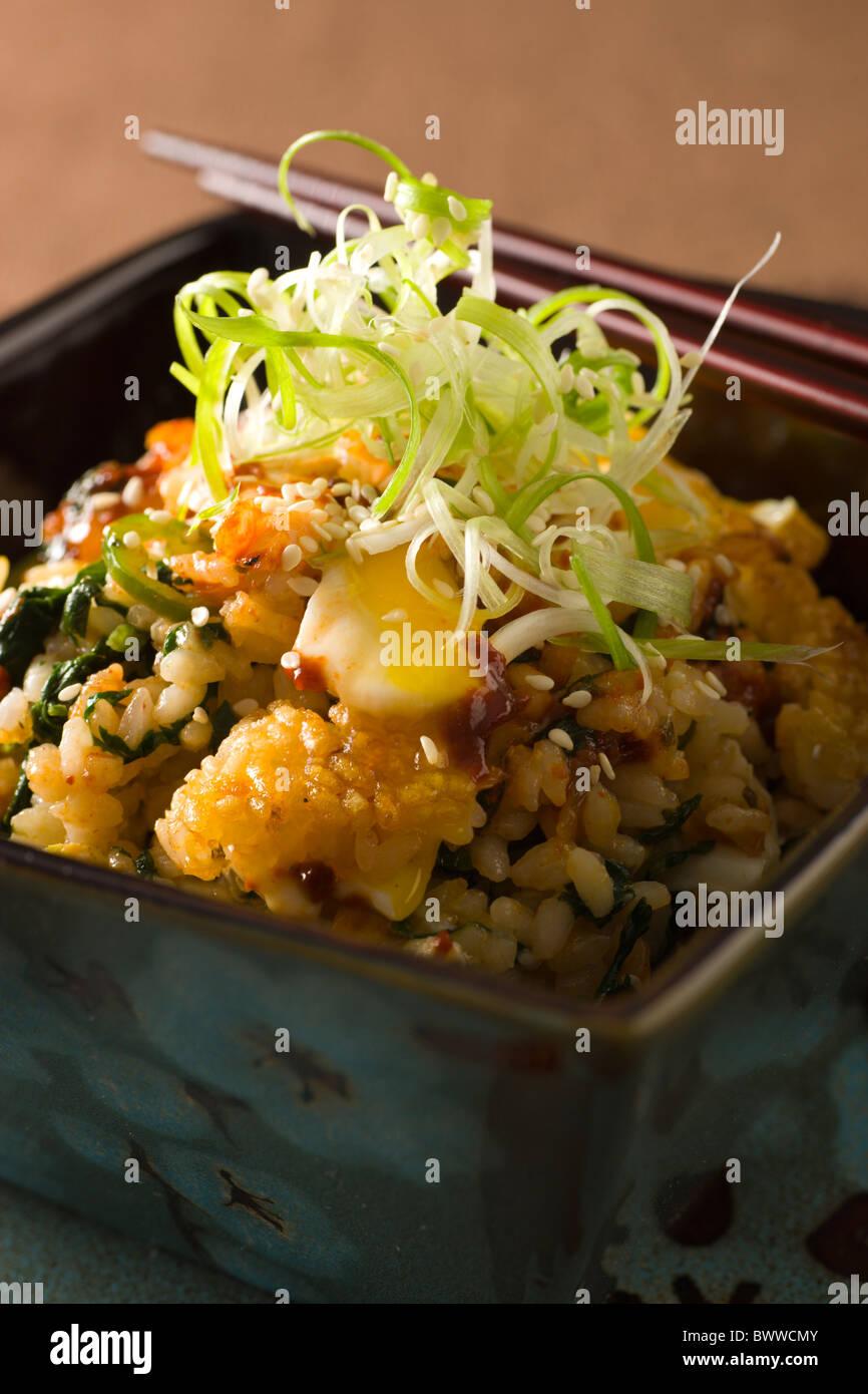 Koreanische Bibimbap, Reis mit Kimchi, gedünsteter Lachs, Spinat, Eiern, Peperoni-Paste, Frühlingszwiebeln Stockbild