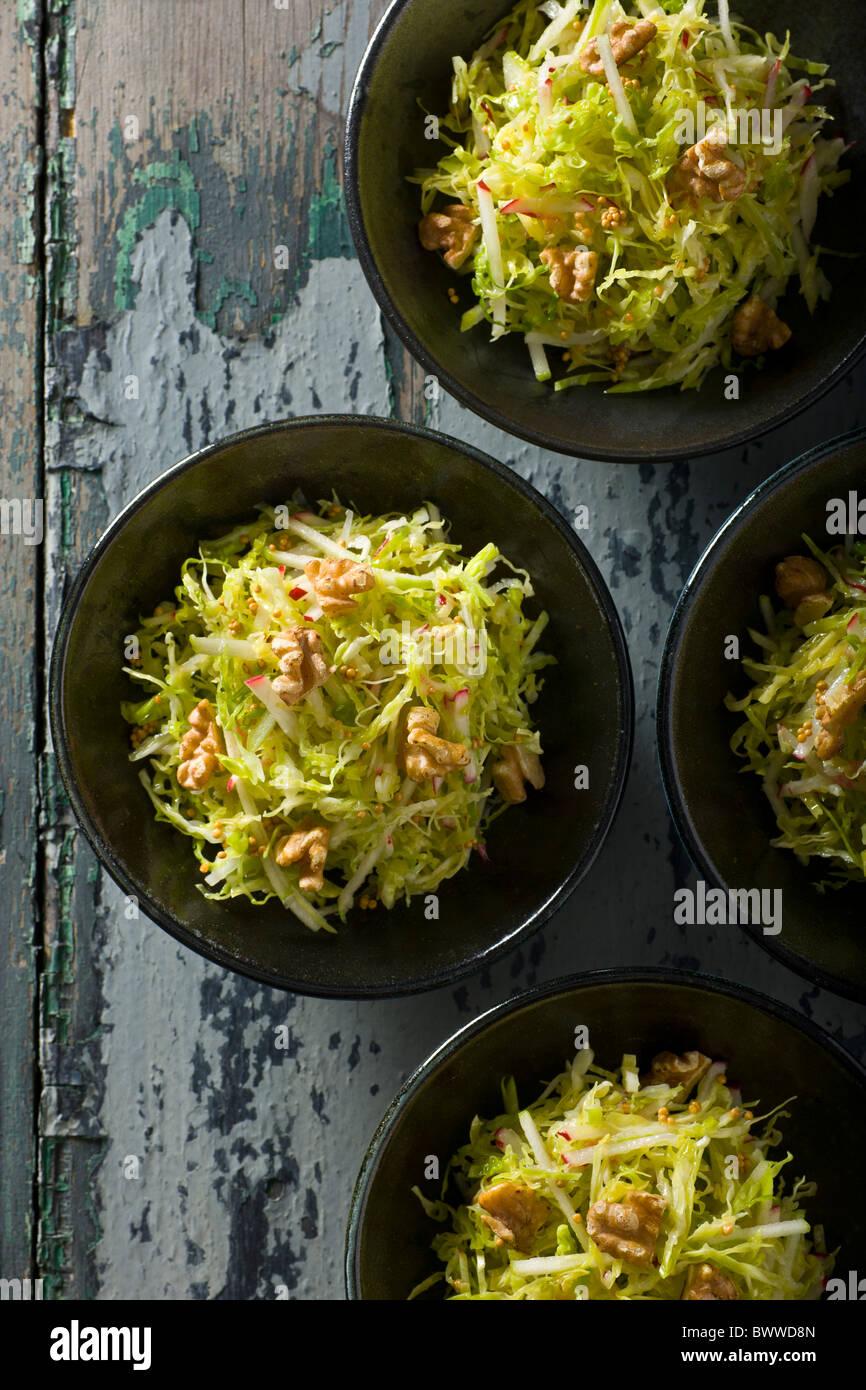 Savoy Cabbage Slaw mit Äpfel, Radieschen und Senfkörner Vinaigrette. Stockbild