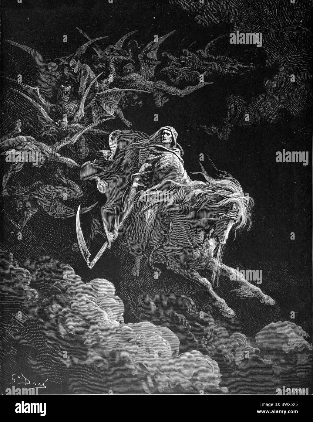 Gustave Doré; Die Vision des Todes aus dem neutestamentlichen Buch der Offenbarung; Schwarz / weiß-Gravur Stockbild