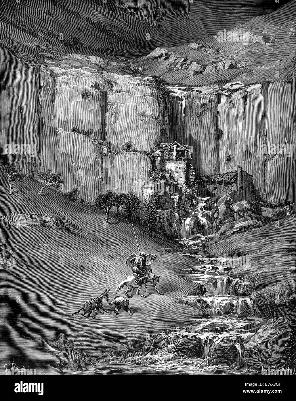 Gustave Doré; Das Abenteuer der Fulling Mühlen; Illustration von Don Quijote von Miguel de Cervantes schwarz Stockbild