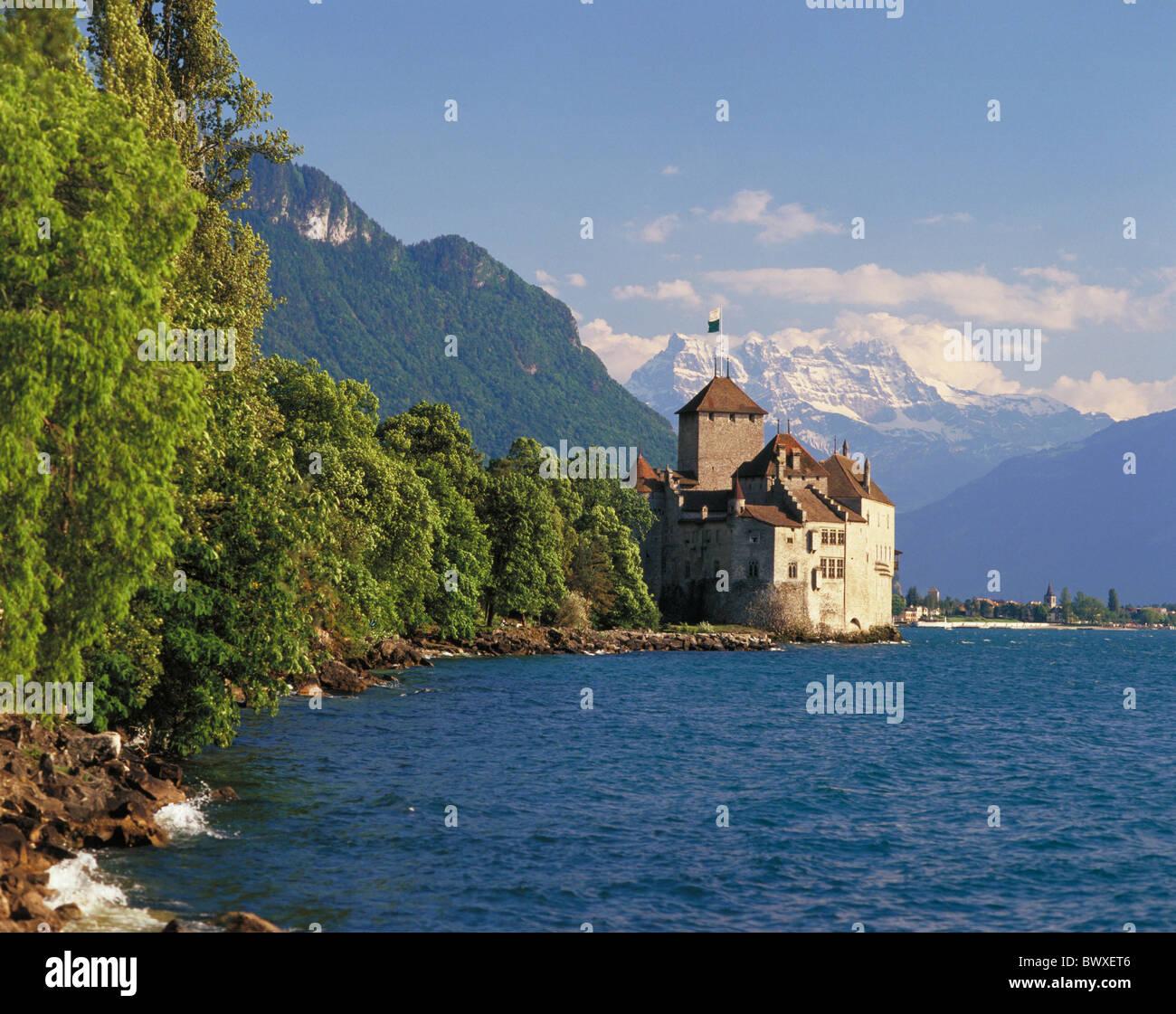 außerhalb der Dents du Midi Buchsen Dickicht Schloss Chillon Schweiz Europa Genfersee Genfersee Waadt Stockbild