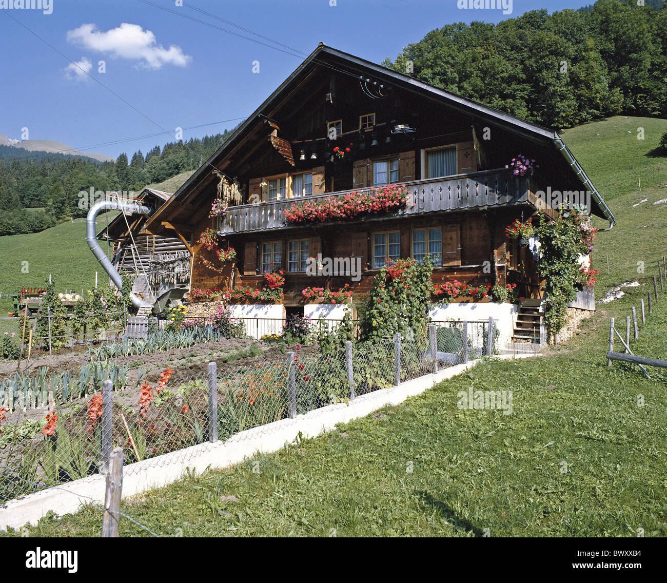 Folklore Bauernhaus Bergen Bauernhäuser Blumen Garten Schweiz Europa Stockbild