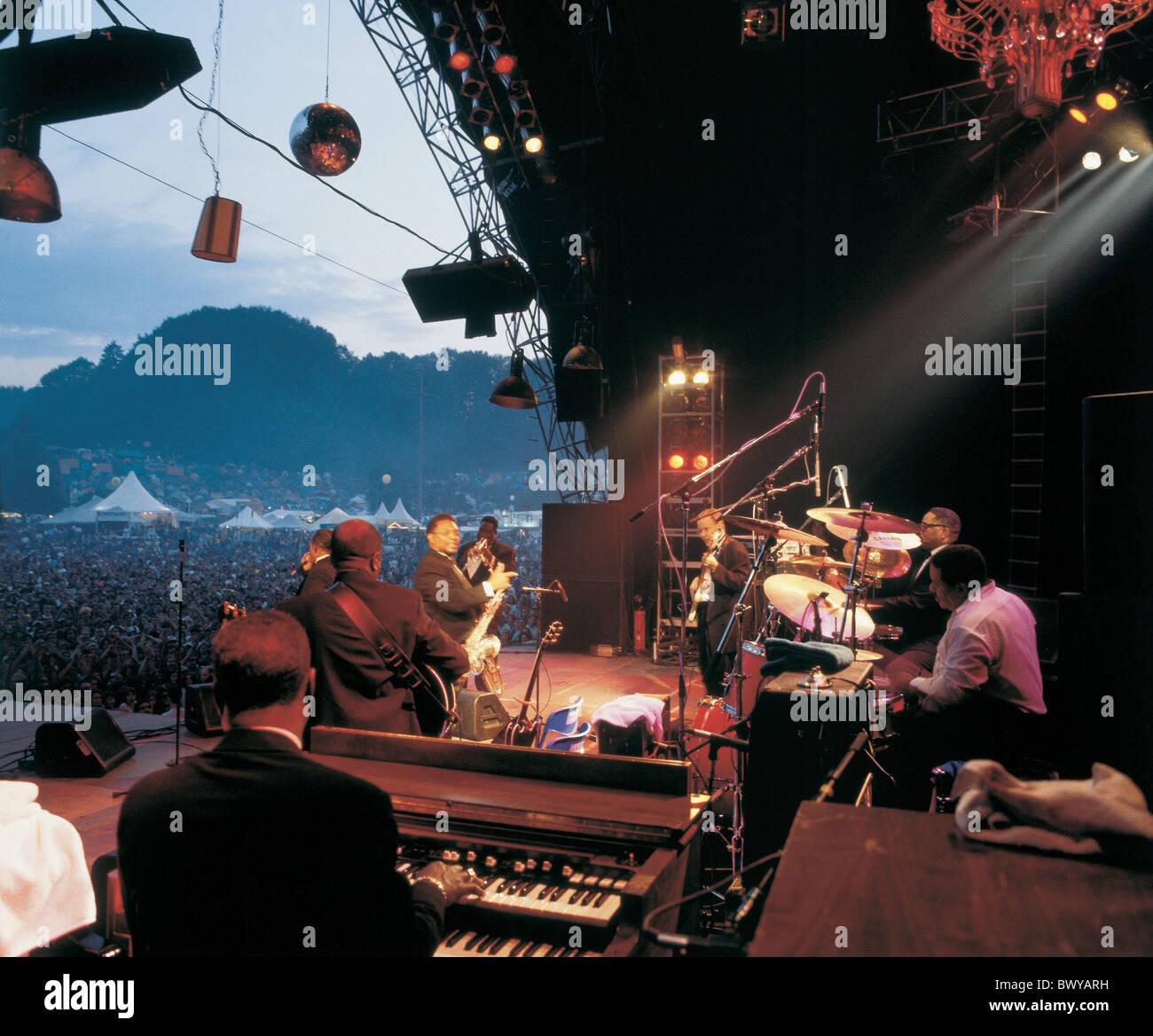Anordnung Festival Musik Konzert keine Modellfreigabe öffnen Luft St. Gallen Zuschauer Freilichtbühne Stockbild