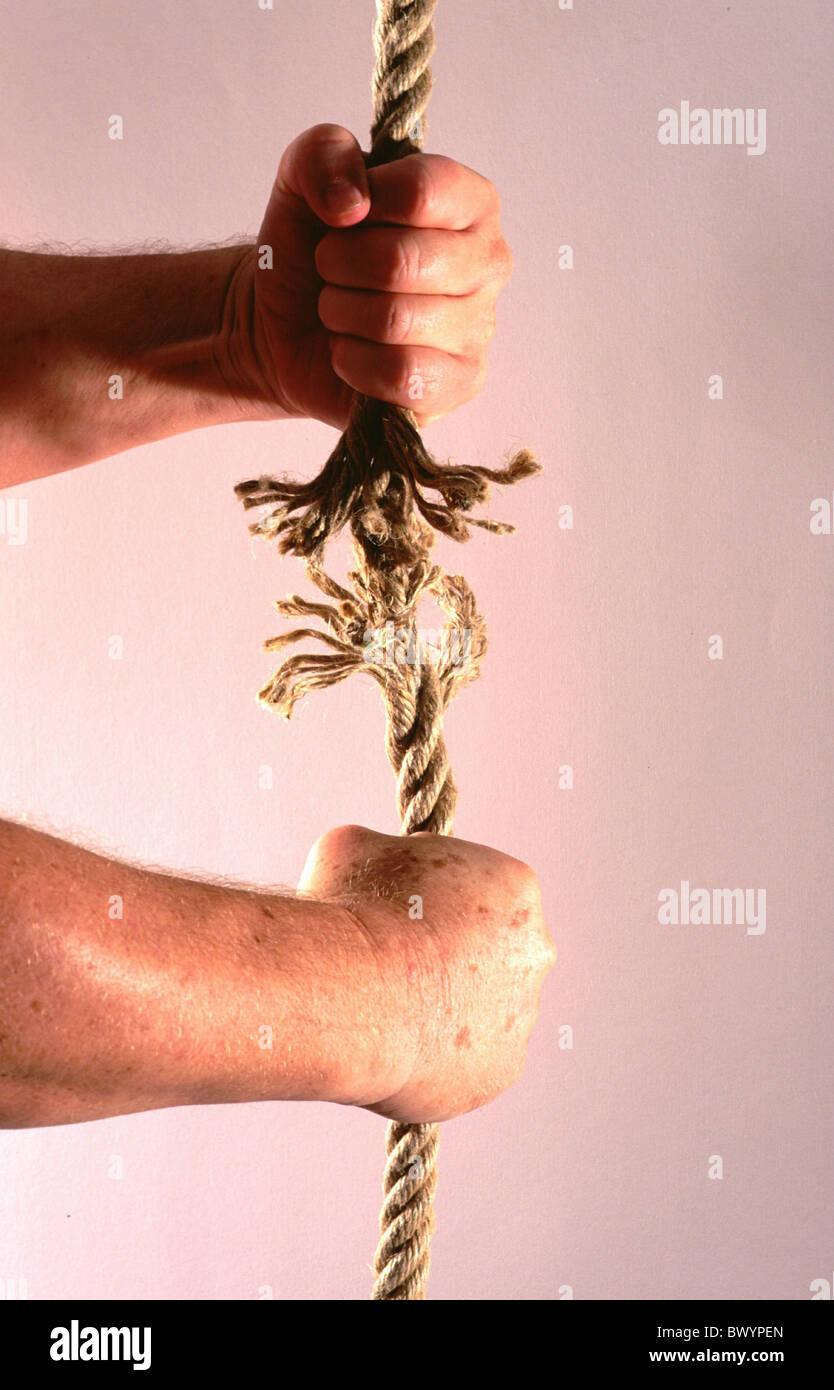 Tau Hände zu brechen Person Seil Seil Bruch Stärke Symbol Träne ...