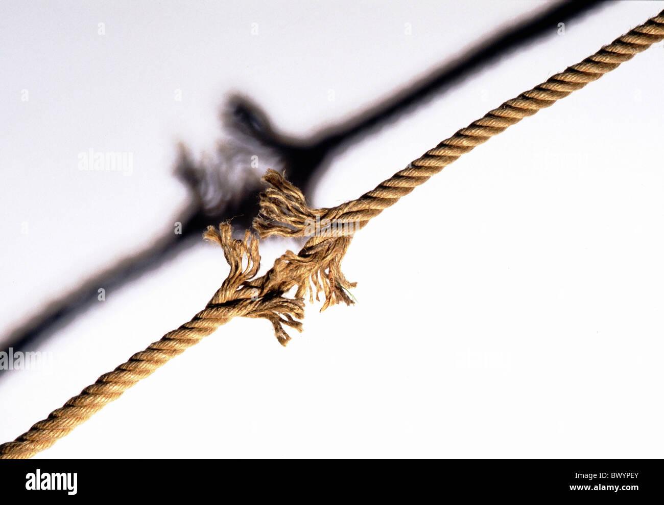 brechen Sie, Tau Seil Seil Bruch Symbol Träne reißen Stockfoto, Bild ...