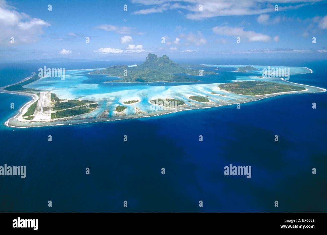 Bora Bora Insel Insel Meer pazifischen Atoll Flug Hang totale Links Luftbild Luftaufnahme Stockbild