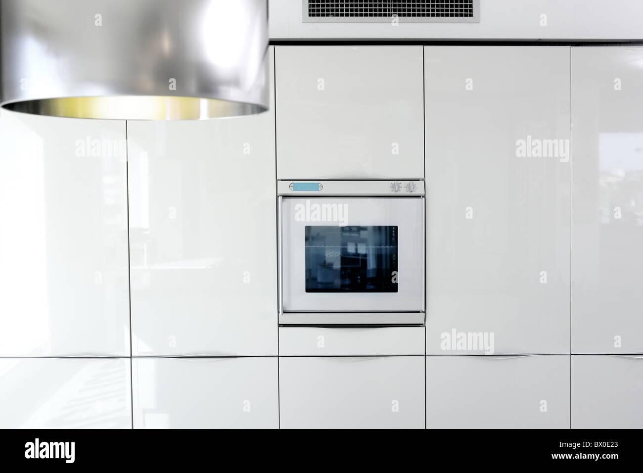 Küche Weiß Backofen Moderner Architektur Detail Haus Innen Deko