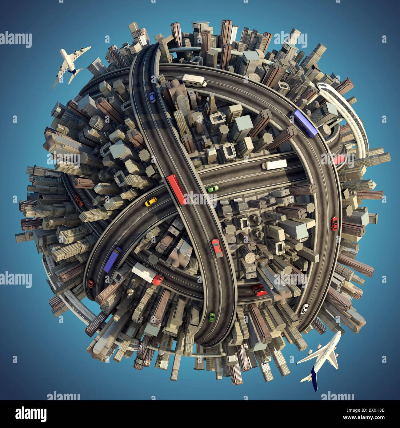 Miniatur-Planeten als Konzept für chaotische Urbanität mit Beschneidungspfad isoliert Stockbild
