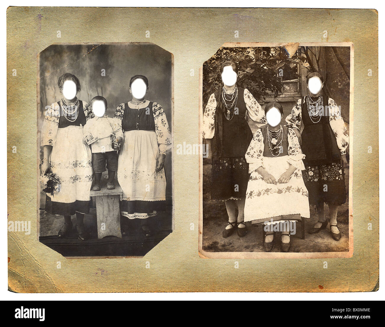 Retro-Foto von Frauen. Gesichter geklont. Sie können den Rahmen oder ...