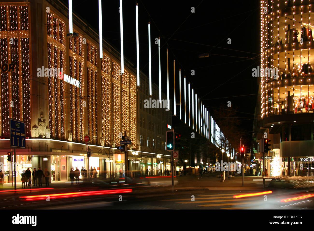 Stadt Zürich Weihnachten Bahnhofstrasse bei Nacht Nacht Business ...
