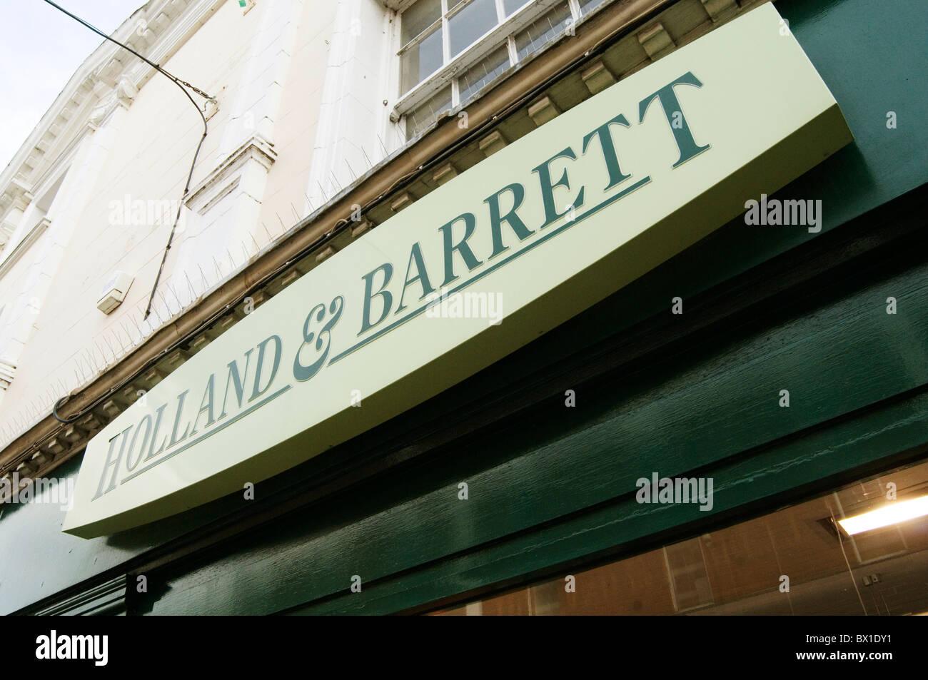 Holland und Barrett Vitamine, Mineralien und pflanzliche Präparate von Großbritanniens führenden Stockbild