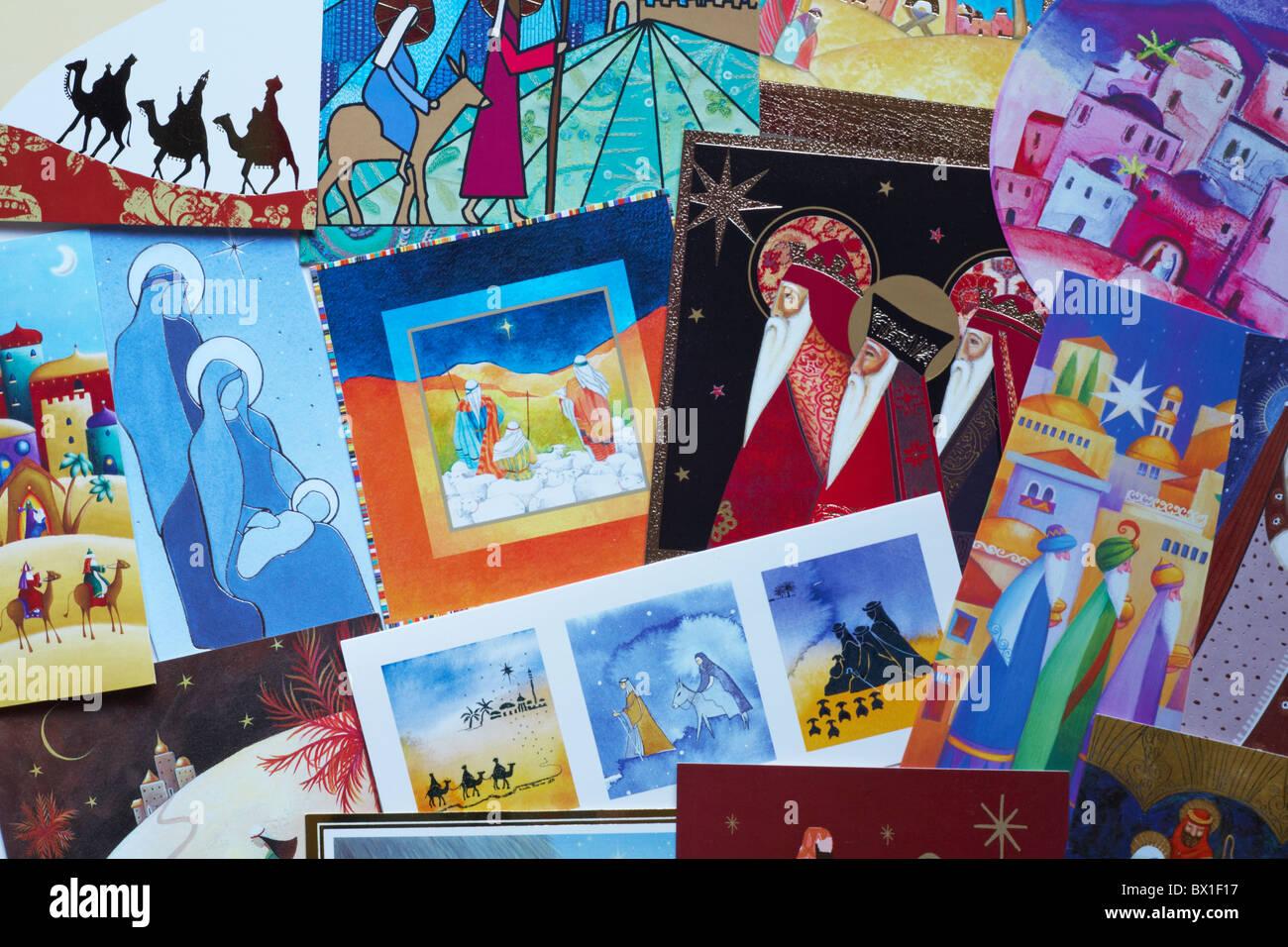 Auswahl an Weihnachtskarten mit religiösen Themen Stockfoto, Bild ...