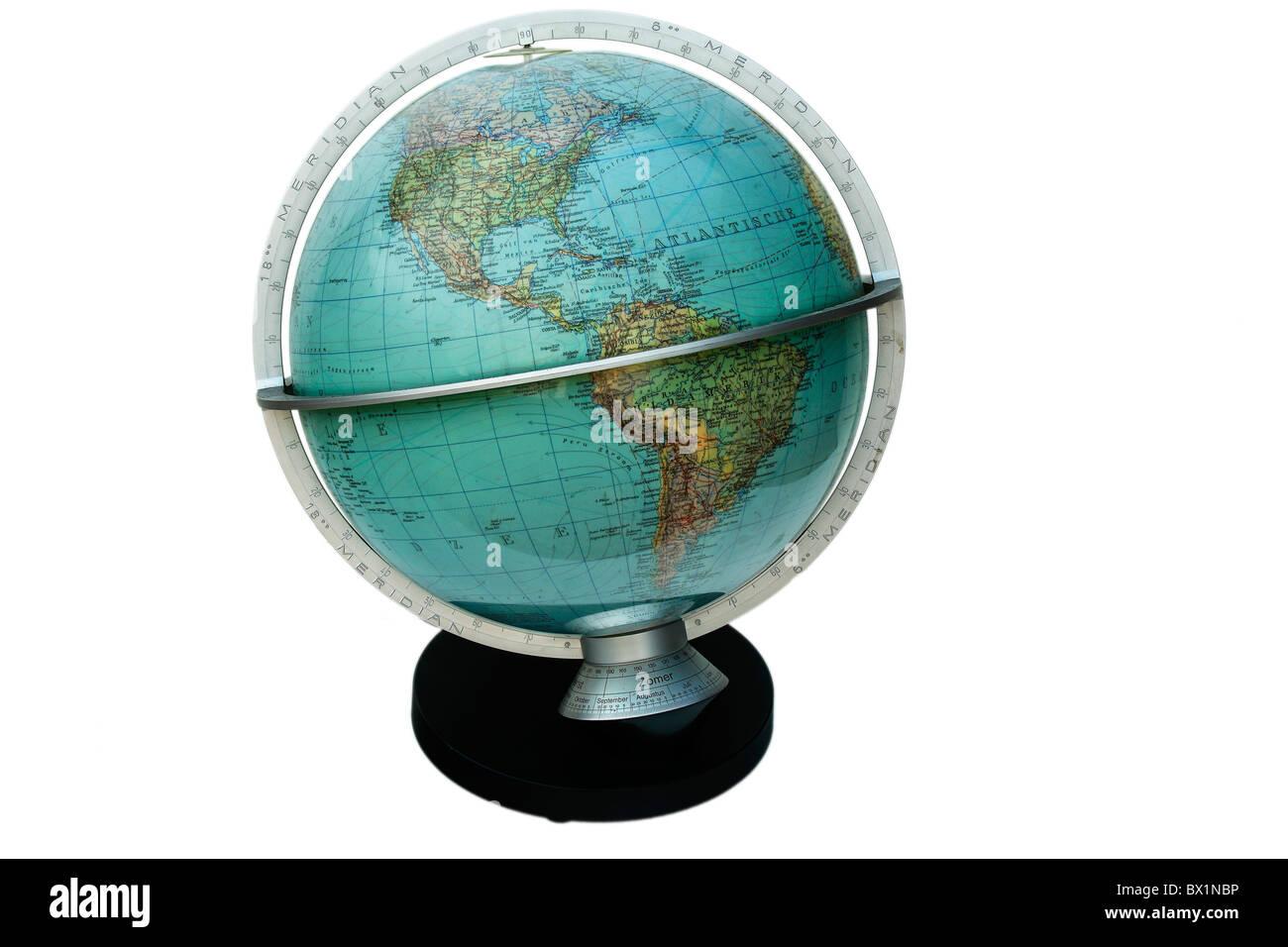 Globus Globuskarte der Welt Geographie Runde Ländern Koordinaten Stockbild