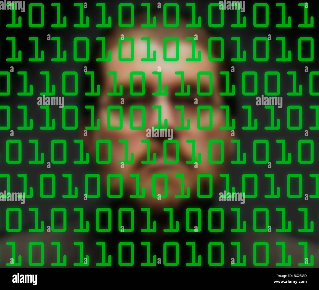 Mann, die Überwachung der grünen binären-Codes Stockbild