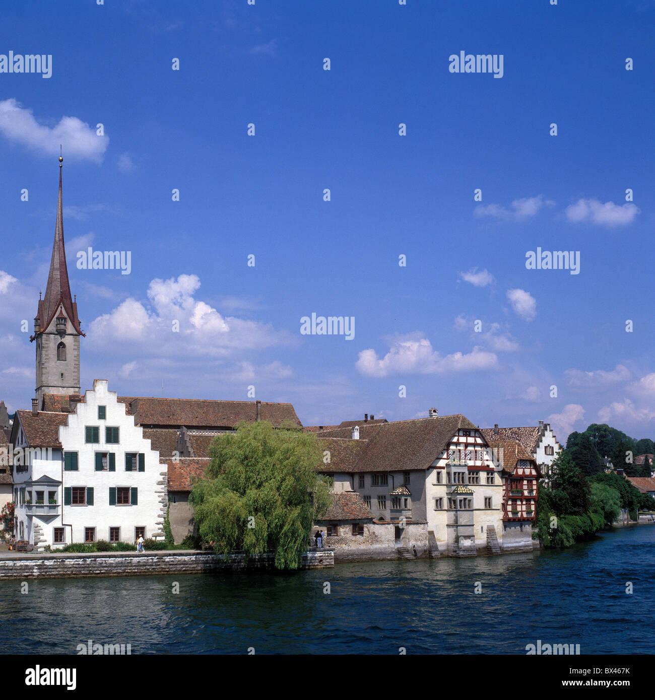 Stein am Rhein Schweiz Europa Stadt Stadt Fluss Rhein Kirchturm ...