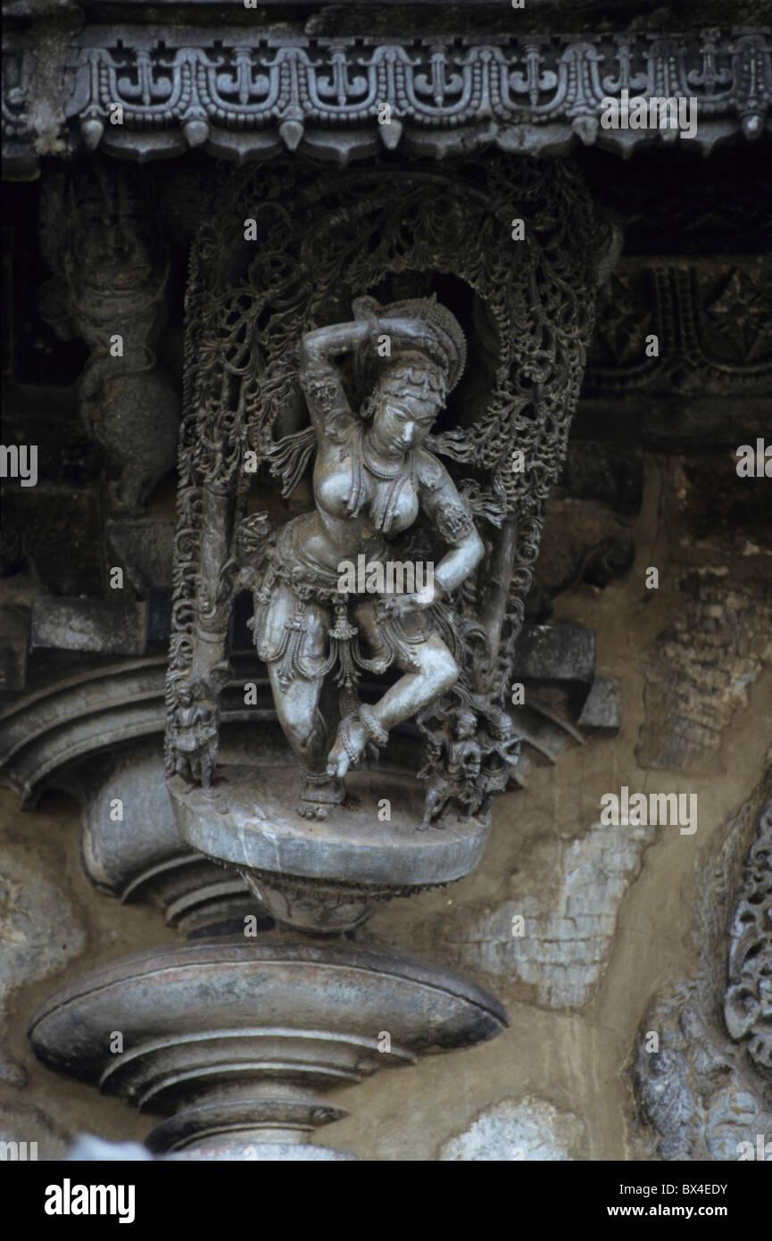 Asiatischen Religionen Asiens Belur Chennakeshava-Tempel Chlorit-Schiefer Fries Bänder glauben Hinduismus Indien Stockbild