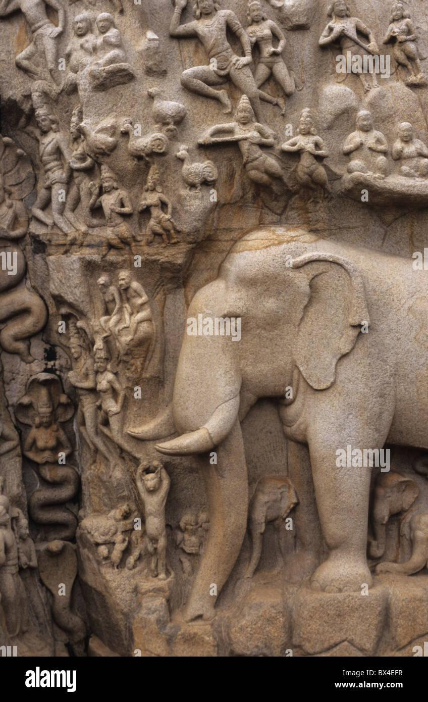 Arjunas Strafe asiatischen Religionen Asiens Klippe Wand Fluss Göttin glauben Hinduismus Indien Mahabalipuram Stockbild