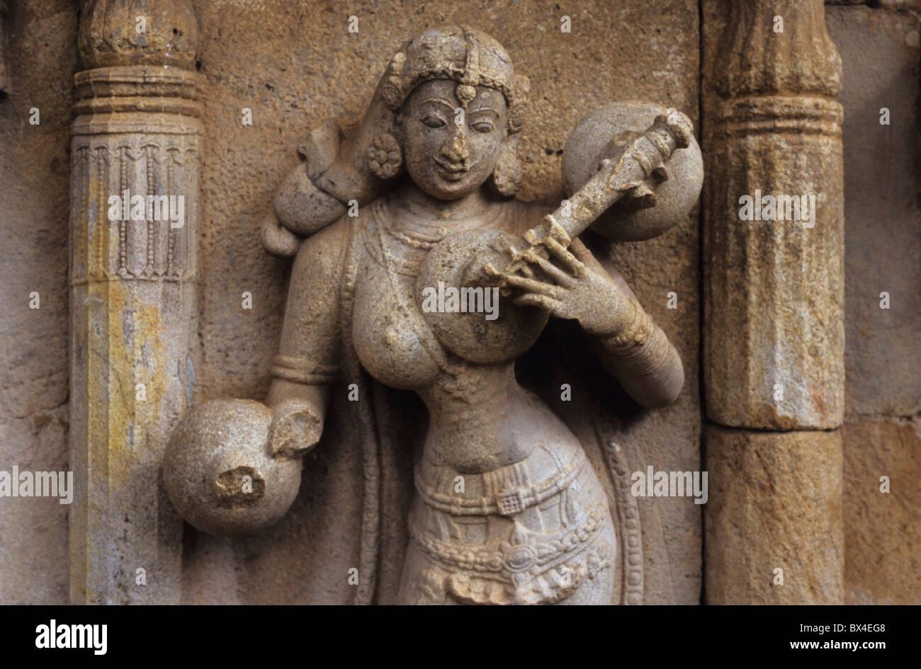Ly Nymphe Vina Karnataka Indien asiatischen Religionen Asiens Frau Figur glauben Hinduismus Mythologie Nymphe Philosophie Stockbild