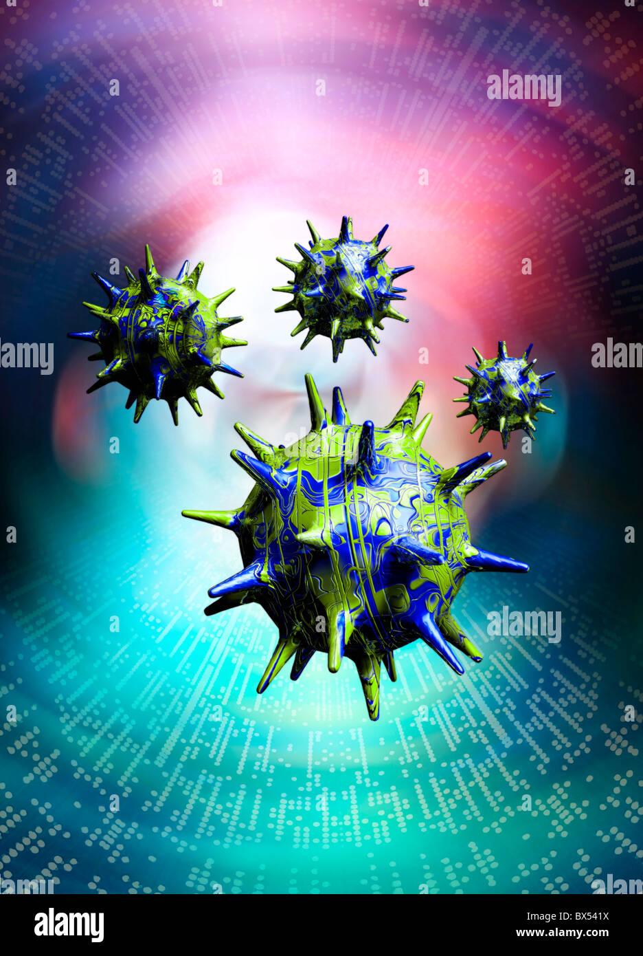 Computer-Virus, konzeptuellen Kunstwerk Stockbild