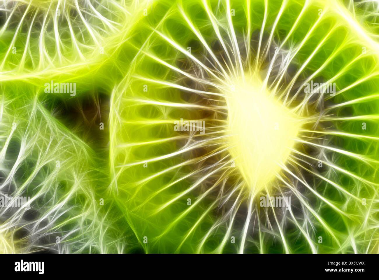 Qualitativ hochwertige abstrakte Fraktal gerendert Kiwi als Hintergrund, Hintergrundbilder oder Hintergrund. Stockfoto