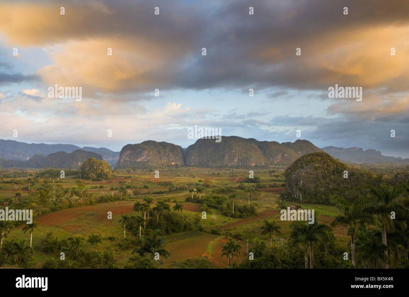 Blick von Vinales Tal im Morgengrauen vom Gelände des Hotel Los Jasmines, Pinar Del Rio, Kuba Stockbild