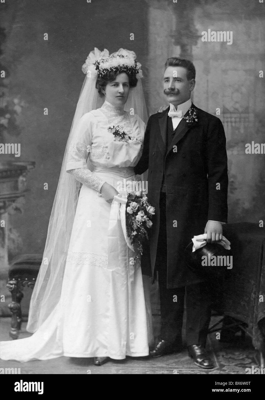 Leute Paare 1900 1930 Braut Und Brautigam Volle Lange Ca