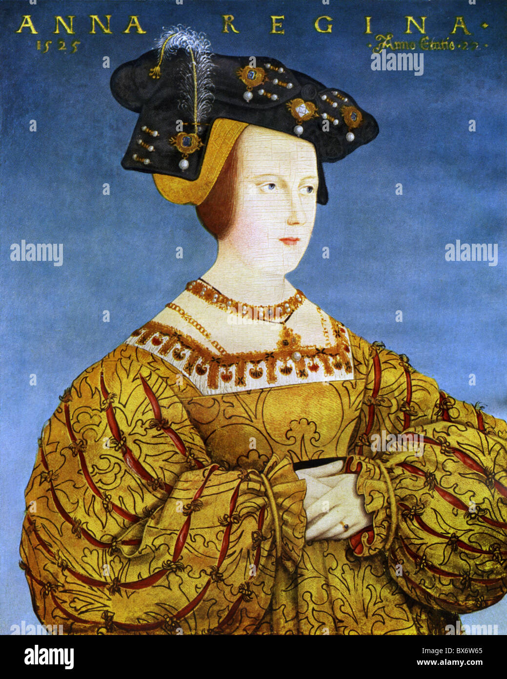 Anna, 23.7.1503 - 27.1.1547, Königin der Römer 5.1.1531 - 27.1.1547, Porträt, Drucken nach dem Gemälde Stockbild