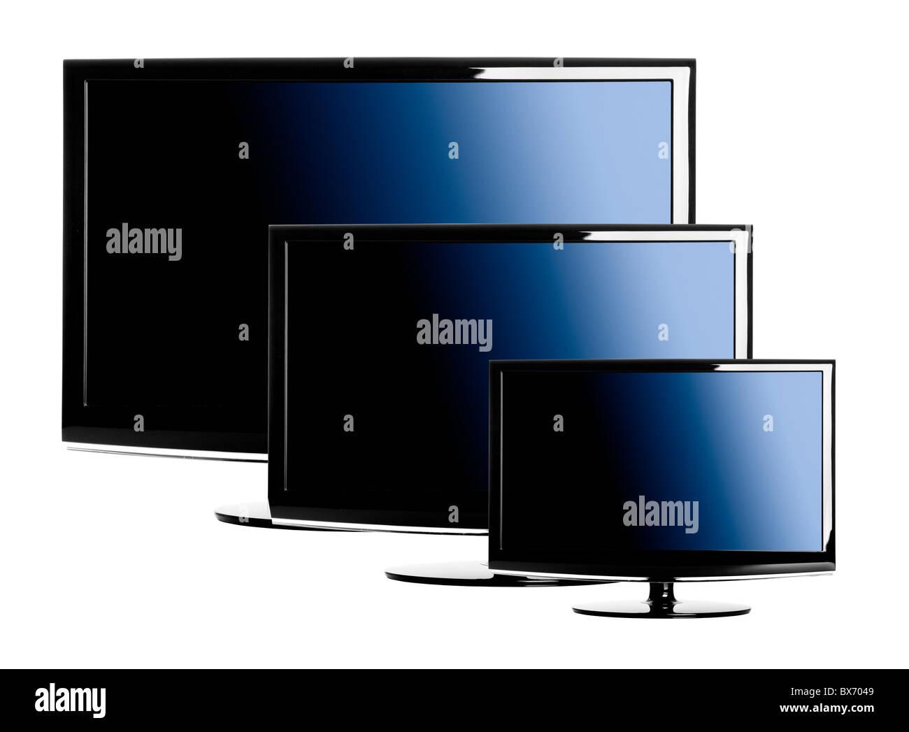 Fernseher Hintergrund drei lcd-fernseher in verschiedenen größen auf einem weißen
