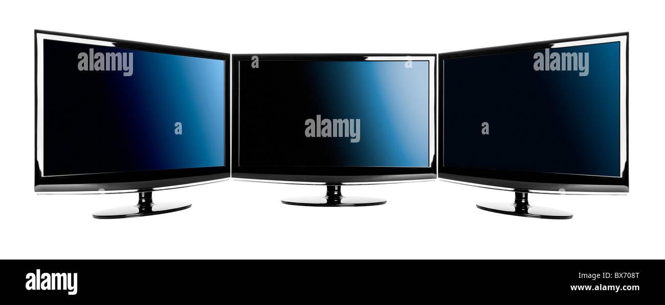Fernseher Hintergrund drei moderne lcd-fernseher über einen weißen hintergrund isoliert