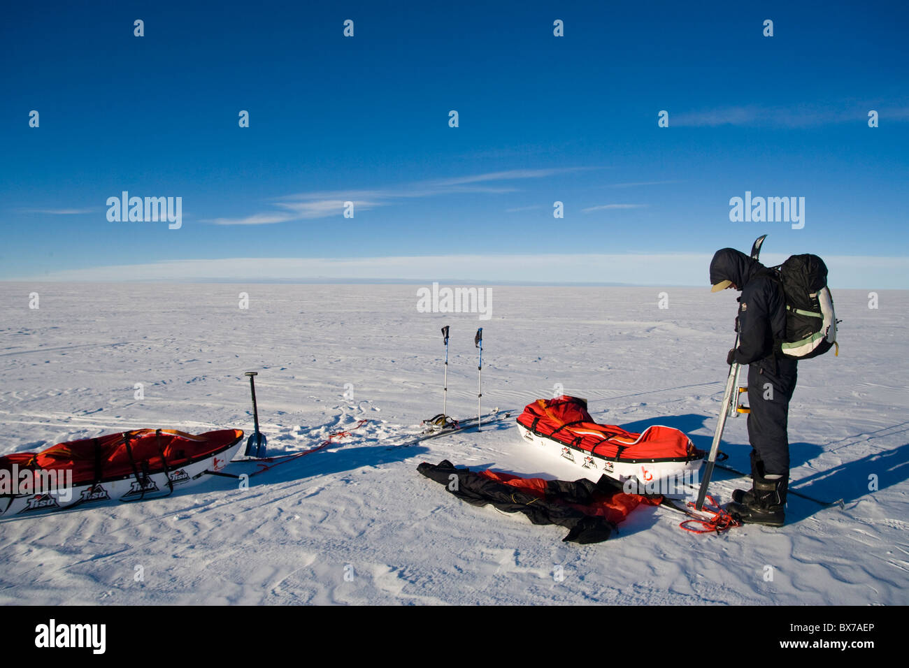 Markante Expedition Camp, im Landesinneren Inlandeis Grönlands, Polarregionen Stockbild