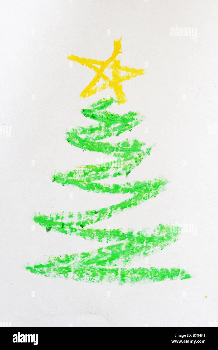 weihnachtsbaum bild hand gezeichnet in kreide stockfoto. Black Bedroom Furniture Sets. Home Design Ideas