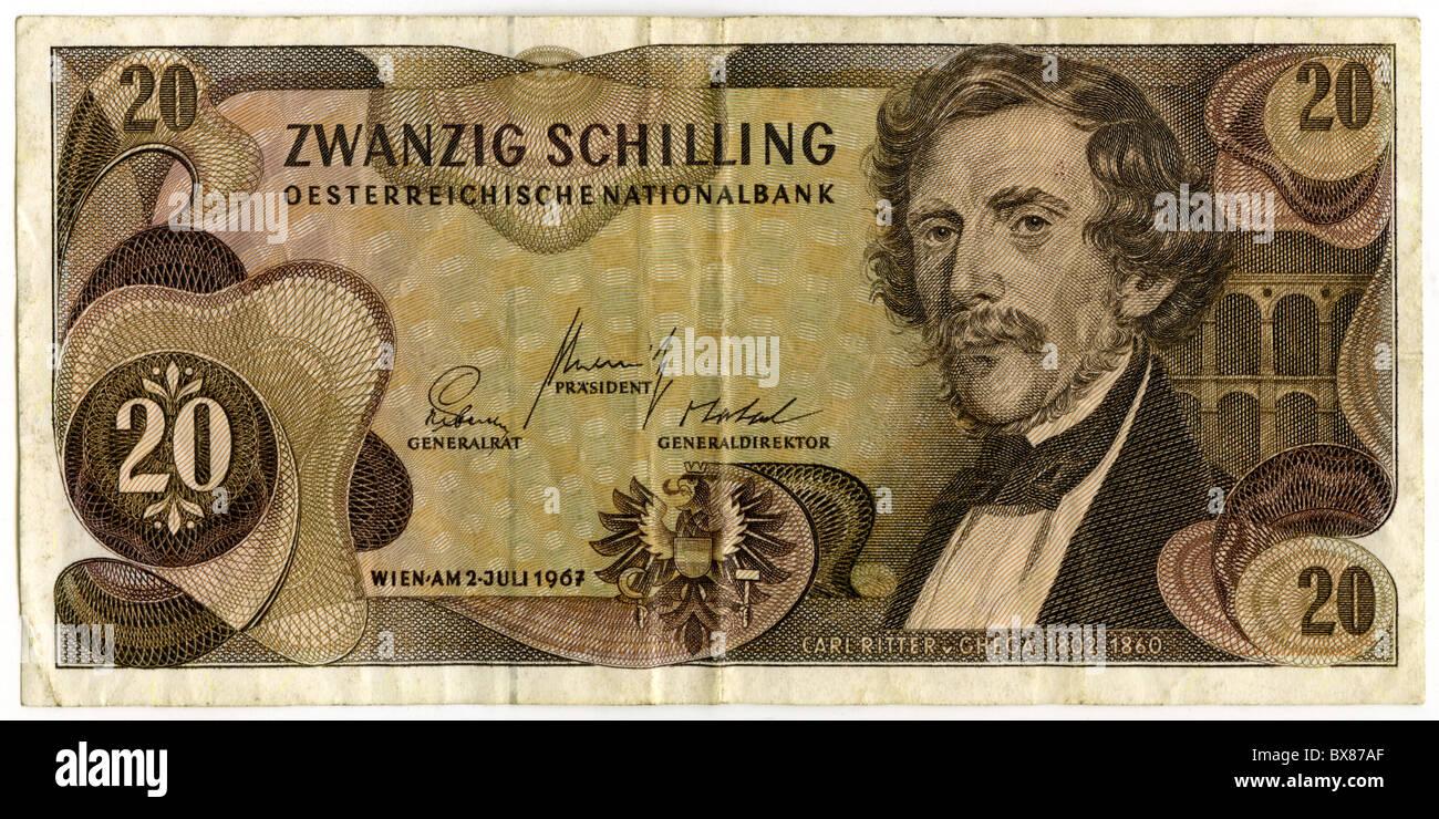 Geld Geldscheine österreich 20 Schilling Bank Note