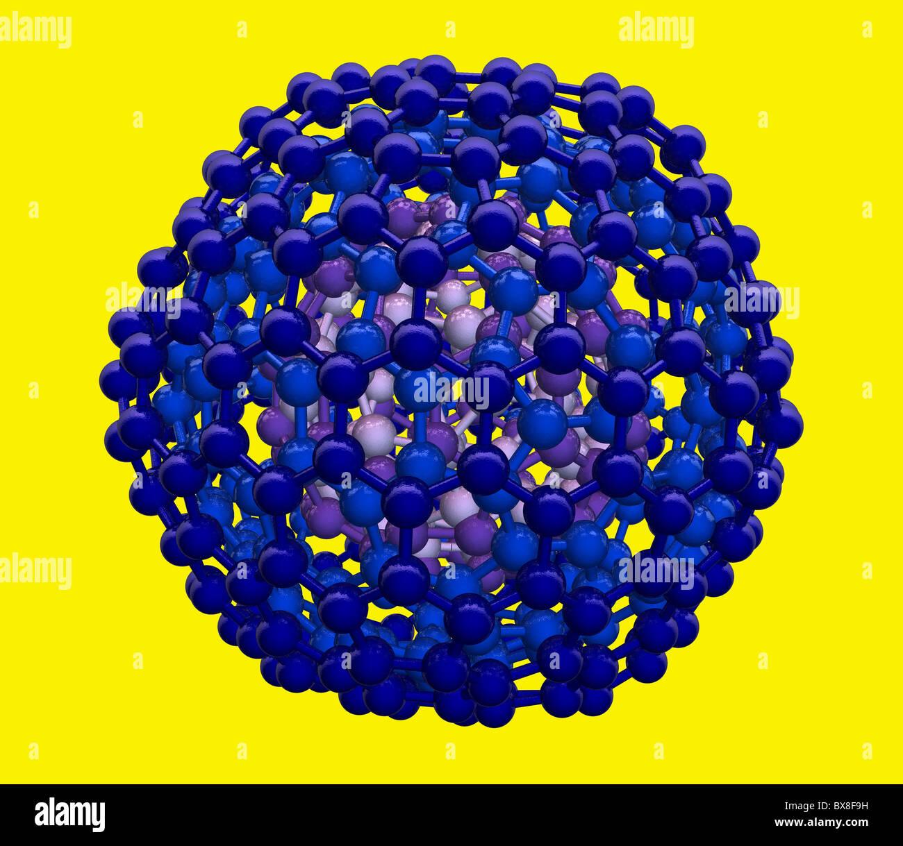 3D-Modell des verschachtelten Buckyball Moleküle Stockbild