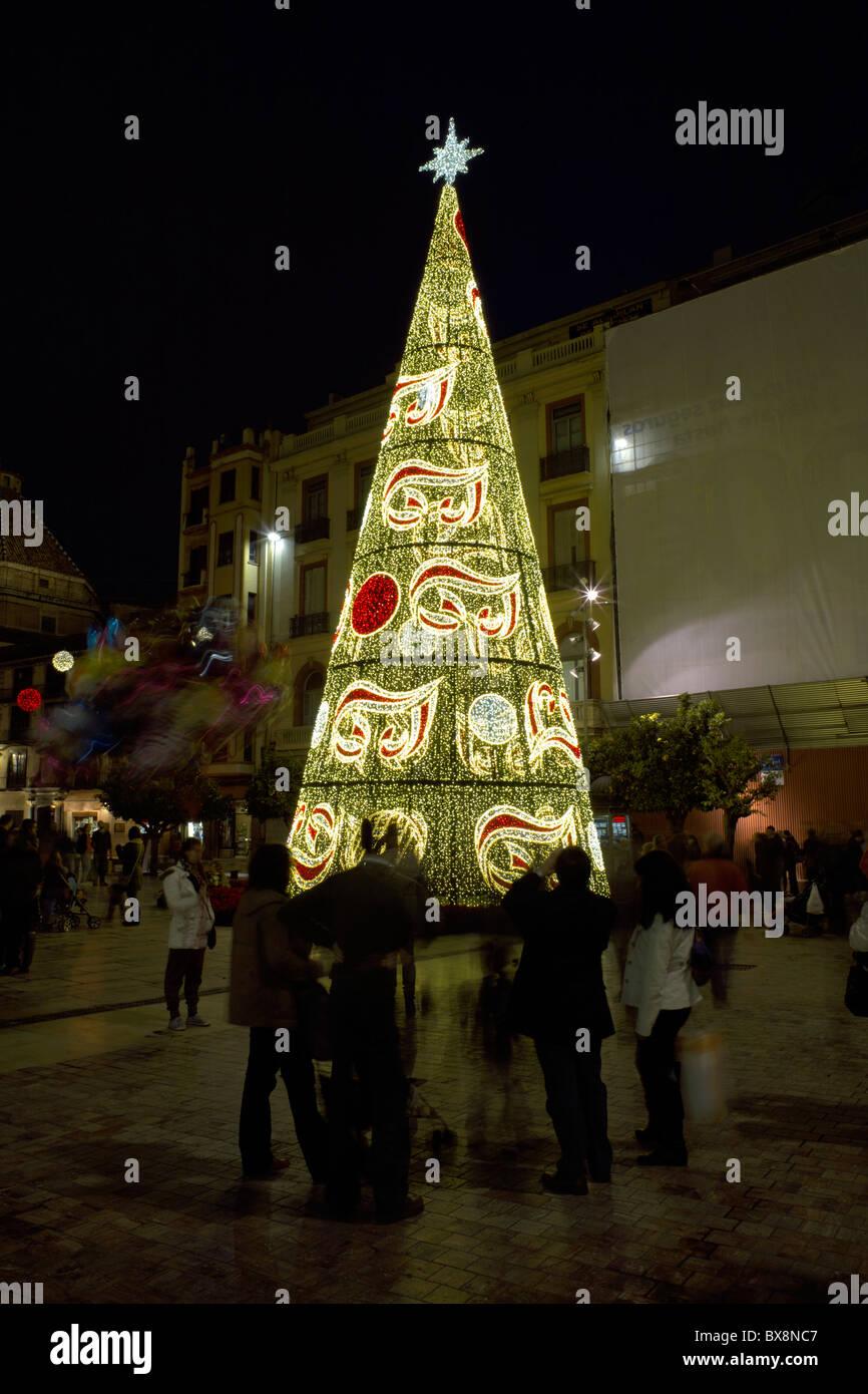 Spanien Weihnachten malaga-weihnachtsbeleuchtung, stadtbild, málaga, andalusien, spanien