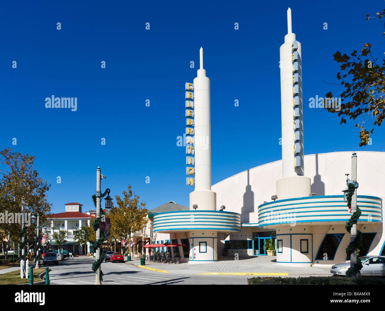 Kino im Zentrum von Disney Zweck gebaut Township Celebration, Kissimmee, Orlando, Zentral-Florida, USA Stockbild