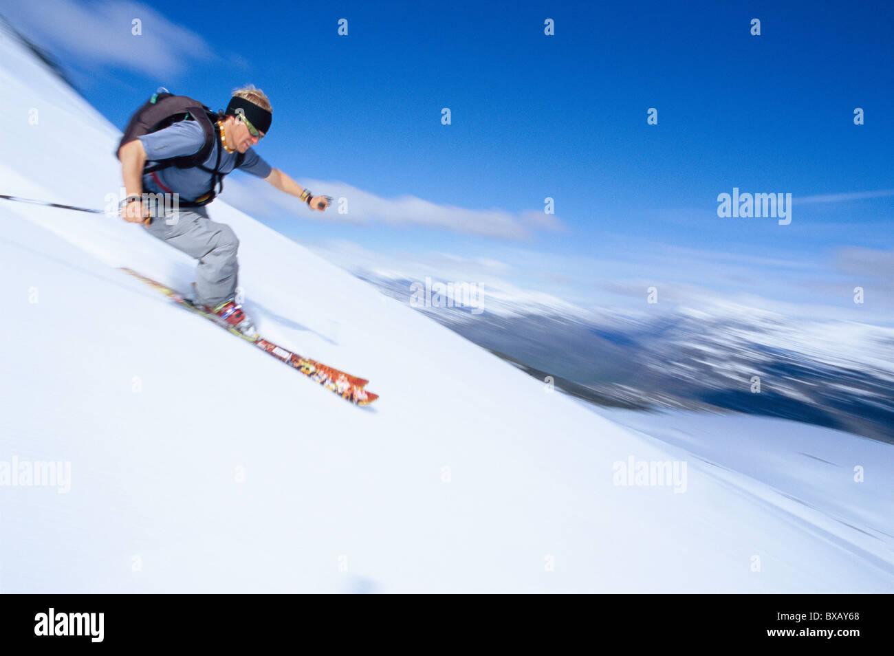 Tourist, Skifahren Stockbild