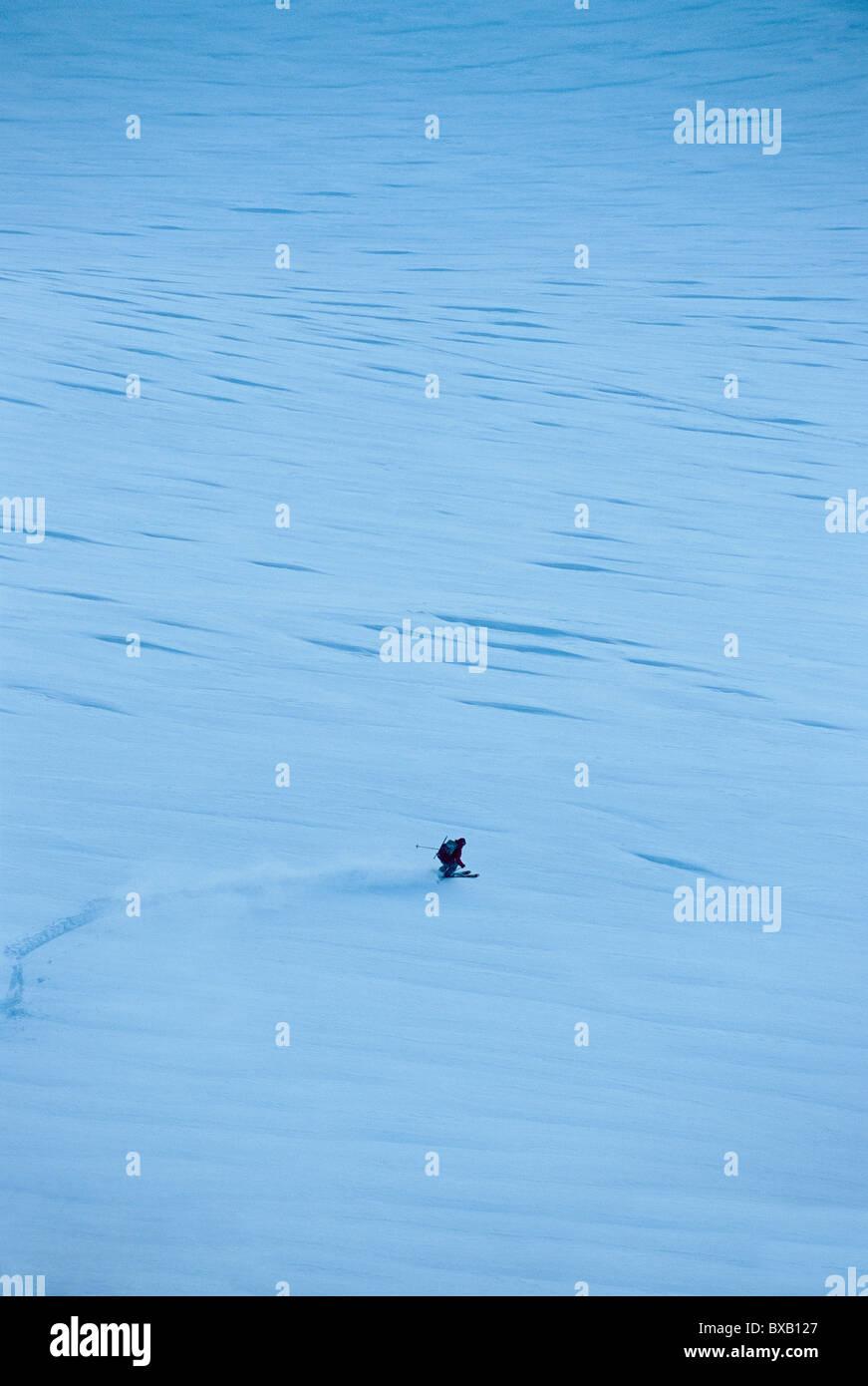 Fernblick über touristische Skifahren Stockbild