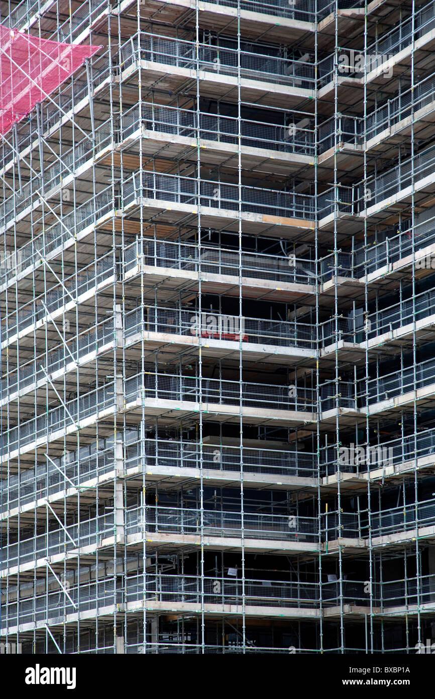 Baustelle, Haus mit Gerüst in London, England, Vereinigtes Königreich, Europa Stockbild