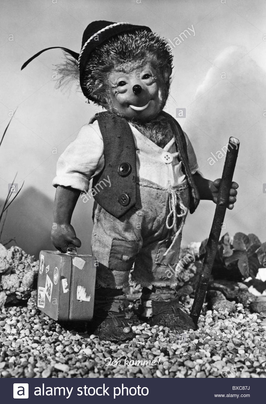 """Spiele, Puppen, """"Mecki"""" the Hedgehog, Szene aus den Filmen der Brüder Diehl, 1950er Jahre, 50er Jahre, Stockbild"""
