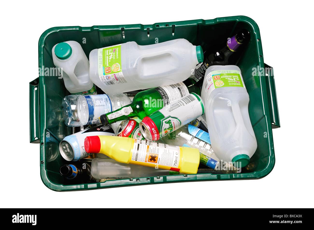 Recycling-Behälter, UK. High Angle ausschneiden. Stockbild