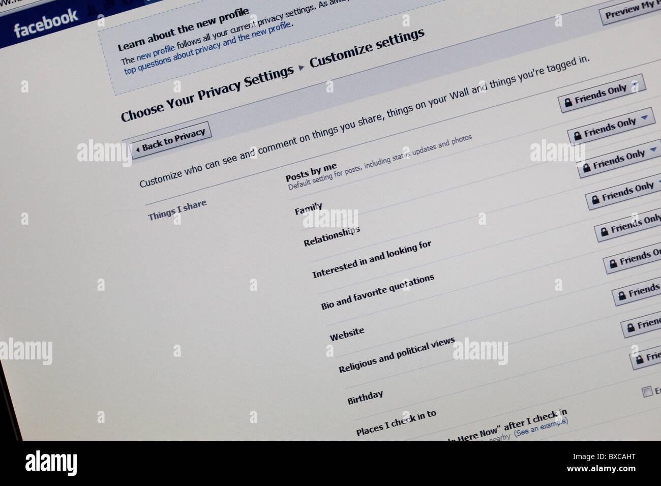 Facebook Privatsphäre screenshot Stockbild